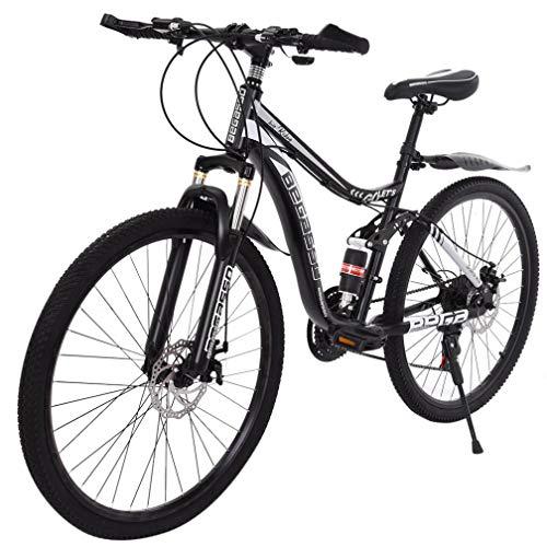 Mountain Bike Carbon Steel 21-Speed Gear Dual-Suspension for Men/Women, 26-Inch (Black)