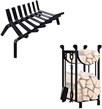 Amagabeli Black Wrought Iron Fireplace Log Grate 21 inch Bunlde 30.7in Tall Fireplace Log Rack with 4 Tools