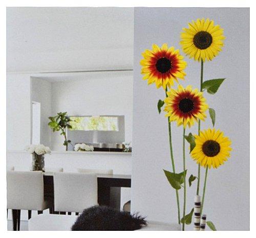 alles-meine.de GmbH XL Set: Wandtattoo / Sticker -  Sonnenblumen und Blätter  - selbstklebend Wandsticker - Sonnenblume Aufkleber Blumen / Herbst - Blumenmotiv