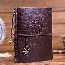 Leather Scrapbook DIY Photo Album Memory Book, 60 Pages 'Navigation Compass' Hand Made DIY Albums for Travel Graduation Fa...