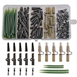 OROOTL 100PCS Carp Fishing Accessories Kit - Carp Tackle Box include Safety Leader Clips Quick Change Swivel Anti Tangle Sleeve Tail Rubber for Carp Bait Rigs