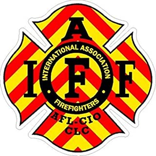 ION Graphics 4 Inch IAFF Chevron Firefighter Maltese Cross Firefighter Sticker Size: 4x4 Inches