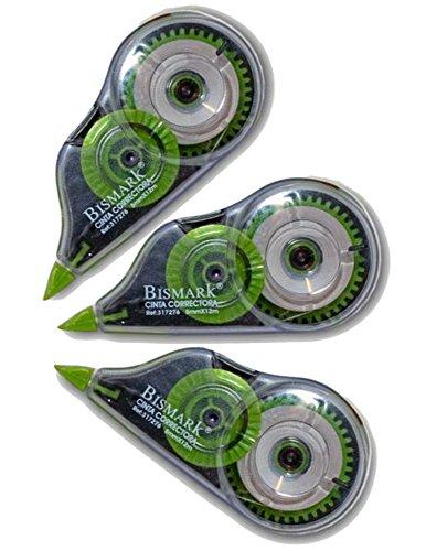 Bismark - Cinta Correctora Seca - 5 mm - 12 m - Set de 3 Unidades