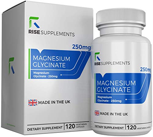 Magnesium Glycinate 250mg | 120 Capsules | Electrolytes Tablets for Cramps, Muscle Fatigue & Restless Legs | Aids Sleep, Fights Tiredness And Fatigue | Made in The UK — Non-GMO || Rise Supplements
