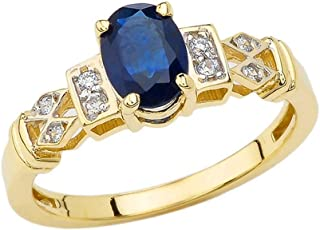 Jewels By Lux 10k Yellow Gold Genuine Birthstone Solitaire Oval Gemstone And Diamond Wave Wedding Engagement Ring