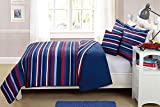 Elegant Homes Decor Multicolor Light & Dark Blue Red White Striped Design Fun Colorful 4 Piece Quilt Bedspread Bedding Set with Decorative Pillow for Kids/Boys (Full Size)