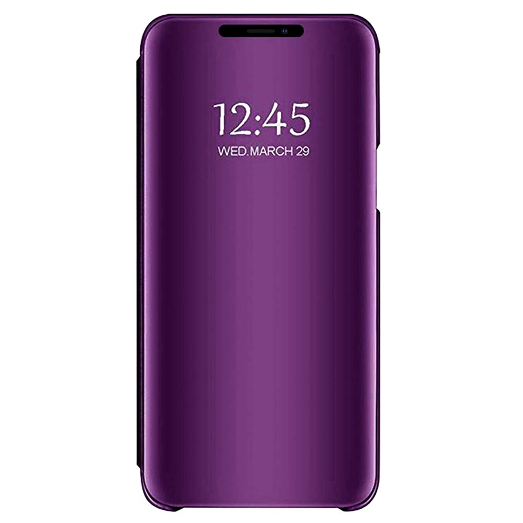 Mirror Flip Case for iPhone Xs MAX,Folio Luxury Cover Translucent Clear View Plating Electroplate Reflective Window with Shockproof Protective Full Body Bumper and Kickstand Defender 6.5 inch Purple