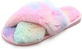 AONEGOLD Chausson Fourrure Femme Pantoufles Chaudes Confortable Peluche d'intérieur Furry Femelle Bout Ouvert Anti-dérapan...
