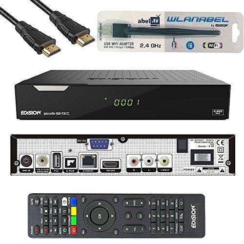 Kabelabel Edision Kabelreceiver Hybrid für digitales Kabelfernsehen inkl. HDMI Kabel Set: (6.DVB-C/T2/S2 (+LAN,WLAN,CA+CI))
