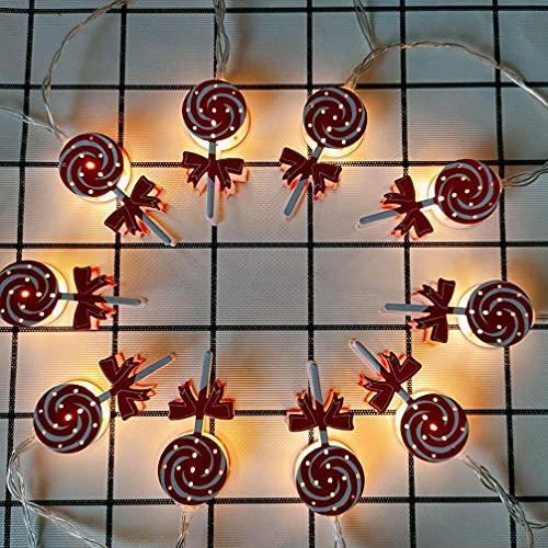 Sensibilidad Christmas Candy String Light Lollipop Dulces DIRIGIÓ Lámparas de cadena Fiesta de Navidad Interior String Outdoor String Lights Compatible con decoración 1.65m 10 LE DS (sin batería) Mult