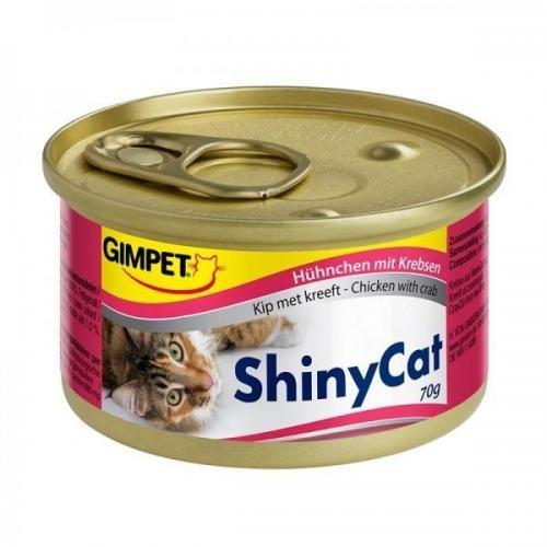 24 x Gimpet ShinyCat Hühnchen mit Krebsen 70g, Feinschmeckerpaste, Nassfutter