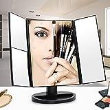 Lampada da Tavolo Gliyr. Lampada a LED Specchio per Il Trucco Tre Lati Pieghevole HD Tocco Magnifier Tri-Fold Dressamento Specchio Illuminato Specchio Illuminato Specchio Desktop Specchio Desktop