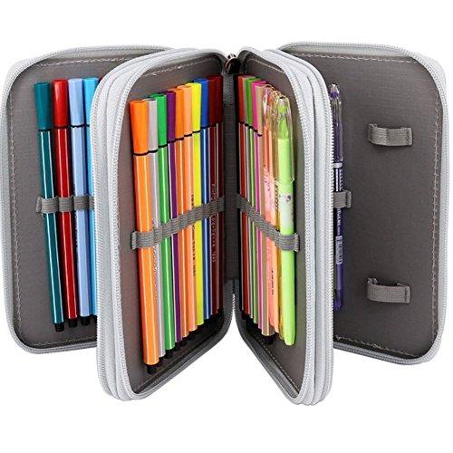 Tracker Color Pencil, 72-Slot Pencil case 4 Layer 4 Zipper Pen Bag Large Art case Multi-Layer Pencil case Storage Box Pencil case Pen Holder Fixed Pencil case Child Adult (Gray)