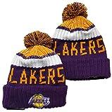 FDRYA Fan Lakers Cappellino da Basket Cappello Beanie, Berretto Invernale a Maglia termale da Uomo Bobble per scopi da Campeggio all'aperto Tappi da Sci B-One Size