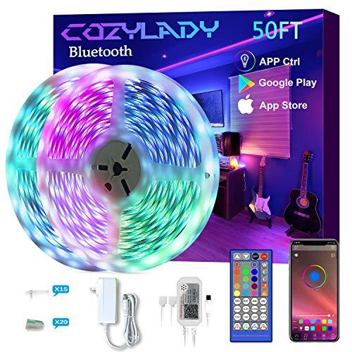 Cozylady Smart LED Strip Lights 50FT - App Controlled LED Light Strips - Music Sync LED Lights Strip for Bedroom Decor, Room Decor,Children's Room