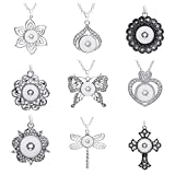 Lovglisten 9pcs Mixed Random Snap Jewelry Pendants Charms 18mm for Jewelry Making (Silver-2)