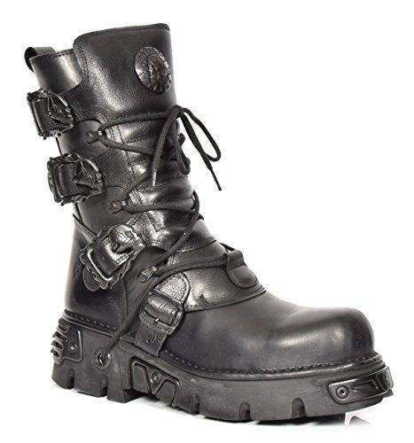 New Rock Botas de Cuero Cordones Zapatos Gótico Estilo Retro Diseño Hebilla de Cráneo Negro Liso (EU 38)