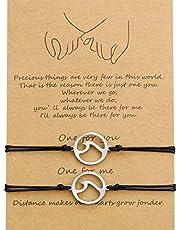 WILLBOND 2 Pezzi Amicizia Promessa Significato Braccialetto Fatto a Mano a Distanza Regalo per Migliori Amiche Amanti delle Coppie Ragazze, Braccialetti Corda Regolabile con 1 Carta Desiderio (Onda)
