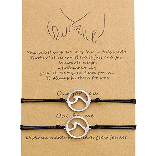 WILLBOND 2 Pieces Promise Friendship Handmade Meaning Distance Matching Bracelet Gift for Best Friend Couple Lover Girls, Adjustable Cord Bracelets with 1 Wish Card (Welle)