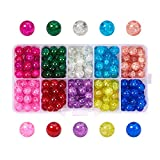 Pandahall 1 Box (About 200pcs) 10 Color Handcrafted Crackle Lampwork Glass Round Beads Assortment Lot for...