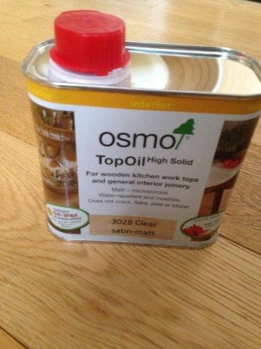 2 X Osmo Top Oil 3028 Clear Satin-Matt 0.5Ltr For Wooden Kitchen Work tops