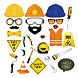 Construction Birthday Party Supplies /25 Ct Construction Truck Photo Booth Props/ Traffic Signs Party Decorations ,Dump Truck Party Decorations Kits Set for Kids Boy Construction Theme Baby Shower ,Fathers Day ,Birthday Party Decorations Supplies