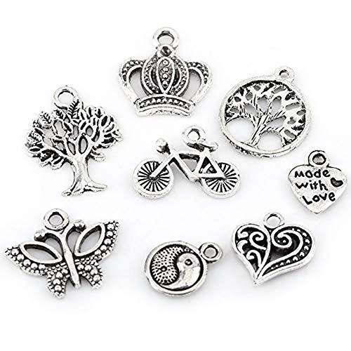 YuuHeeER Joyería mezclada de plata para hacer dijes tibetanos antiguos, collar y pulsera, 100 piezas de kits de fabricación de joyas