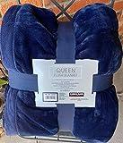 Navy Blue Kirkland Queen Plush Blanket 98 x 92 inches Super Sized