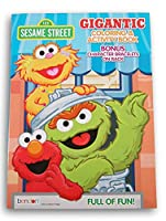 Elmo and Oscar The Grouch 巨大 192ページ 塗り絵 裏面にスタンドアップキャラクター付き