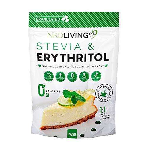 Estevia y eritritol - sustituto natural granulado del azúcar con cero calorías en proporción 1:1...