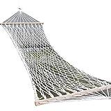 SENCILLON Hamaca doble amplia de ocio de algodón para esparcidor de cuerda Hamaca, capacidad de 200 libras (blanco)