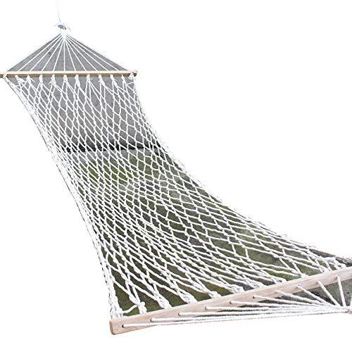 SENCILLON Double Wide Leisure hammock Cotton Spreader Bar Rope Hammock, 200 Pound Capacity (White)
