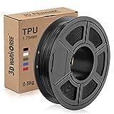 TPU Filament 1.75mm Flexible, 3D Printer Filament Dimensional Accuracy +/- 0.03 mm, 0.5 Kg Spool, Black