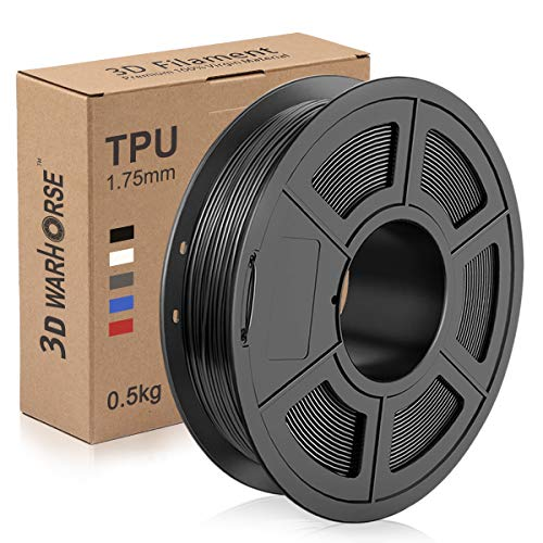 TPU Filament 1.75mm Flexible, 3D Printer Filament Dimensional Accuracy +/- 0.03 mm, 0.5 Kg Spool, Black