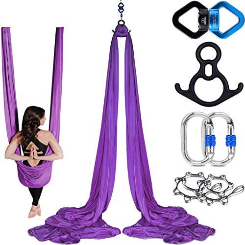 Orbsoul Aerial Silks + Yoga Hammock (Professional Set) Includes Premium 100% Aerial Nylon Tricot Fabric Silks, Full Rigging Hardware and Easy Set-up Guide (Lush Lavender)