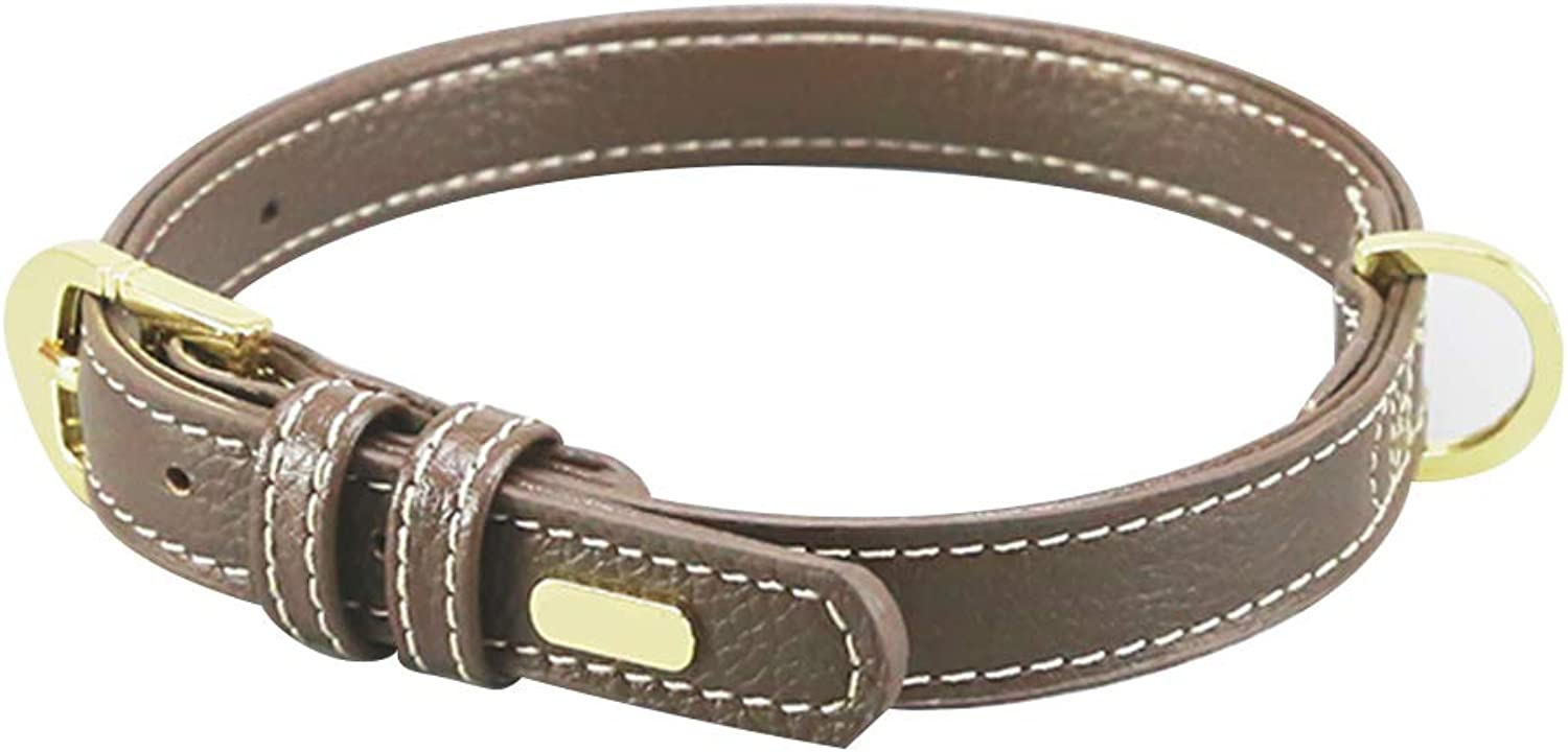 Pet Leash Dog Collar, Double Layer Cowhide Smooth Soft Leather Medium Large (color   Brown, Size   M)