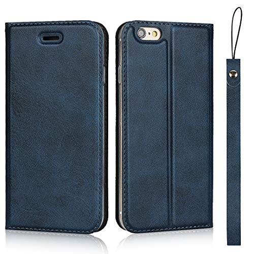 iPhone 6 / iPhone 6s Case, The Grafu Premium Flip Folio Case with Card Slot and Wrist Strap for iPhone 6 / iPhone 6s, Multiple Functions PU Leather Cover, Blue