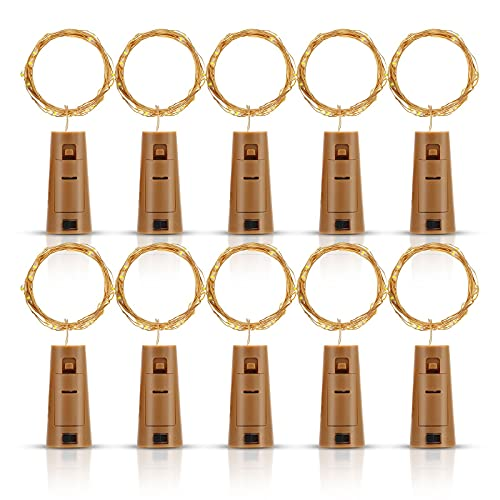 Bottle Lights with Cork 10 Pack, Fulighture Copper Wire with 20 Small LEDs 2M String Lights, Battery Operated Wine Bottle Fairy Lights, for DIY Christmas Party Bedroom Wine Glass, Warm White