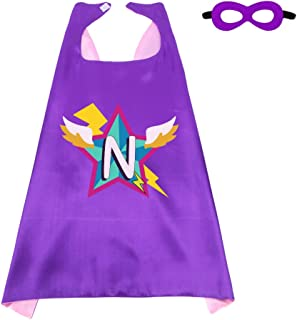 Kids Superhero Cape Mask for Girls with 26 Initial Letters Hero Dress up Party Supplies