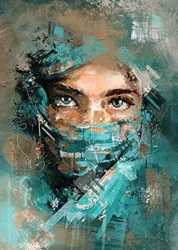 JRLDMD Pintura en Lienzo de Cara de Mujer con Velo Verde Retrato de Mujer Abstracta Arte de la Pared Sala de Estar Decoración del hogar Imágenes Impresión de Arte 40x50cmx1 Sin Marco