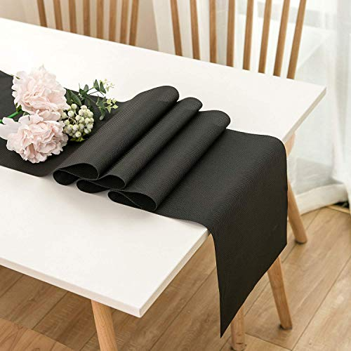 AMAZING1 Black 12'×108' Easy to Clean Non-Slip Heat Resistant Modern Farmhouse Table Runner for Dinner Dining Office Kitchen Table Thanksgiving Christmas Party