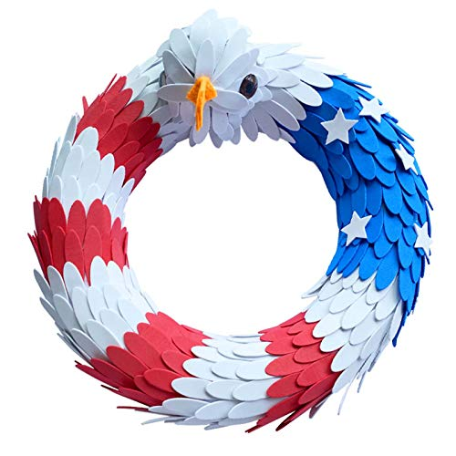 GBaoY American Eagle Wreath for Door, Patriotic Flag Garland USA July 4th Wreath, Handcrafted American Patriotic Wreath for Home, Front Door Décor(15 inch)