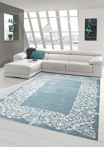 Traum Alfombra Alfombra diseñador contemporáneo Alfombra de la Sala Alfombra de Pelo Corto con Crema Turquesa Pastel Frontera Größe 120x170 cm