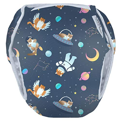 GroVia Reusable Waterproof Swim Diaper for Baby, Infant, and Toddler (Size 3: 25-50 lbs, All Cats Go to Space)