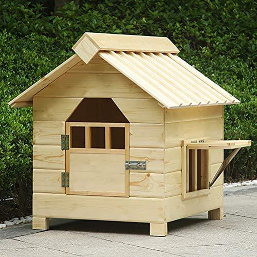 Zhyaj Hundezwinger Draußen Wetterfest Teddy Hunde Villa Holz DIY Hundehütte Wetterfest Isoliert with Fenste,B,75 * 65 * 70cm