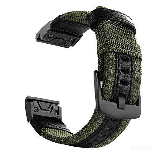 YOOSIDE for Fenix 5/Fenix 6 Armband, Nylon Ersatz Uhrenarmband Quick Fit 22mm Armbänder für Garmin Fenix 5 Plus,Fenix 6 Pro/Sapphire,Instinct,Quatix 6/5,Approach S62,Grün