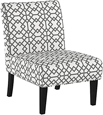 GDF Studio Kendal Grey Geometric Patterned Fabric Accent Chair