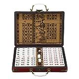 CHIMAKA Portátil Retro Mahjong Box Rare Chinese 144 Azulejos Mah-Jong Set Divertido Juego de Mesa Juego de Mesa Nuevos accesorios de bricolaje