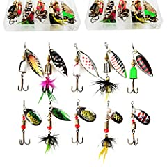 🐟WIDELY USE:Our spinner baits lures kits come with sharp treble hook,stainless steel spindle and silver-plated blade.With Bright colors and shapes,our fishing lures kits are attractive for various kinds of fishes.This spinner baits can be used in Bot...