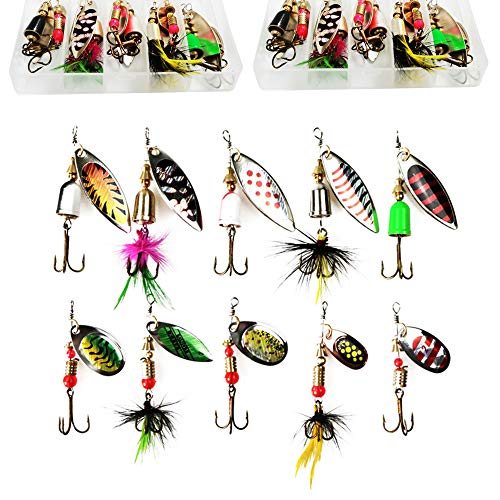 20pcs Freshwater Spinner Baits Fishing Lures Kits with 2pcs Tackle Box,Tackle Gear Attractants Rooster Tail Spoon Lures Kits for Bass...